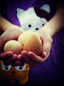 hands with eggs