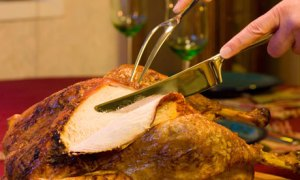 Roast turkey being carved